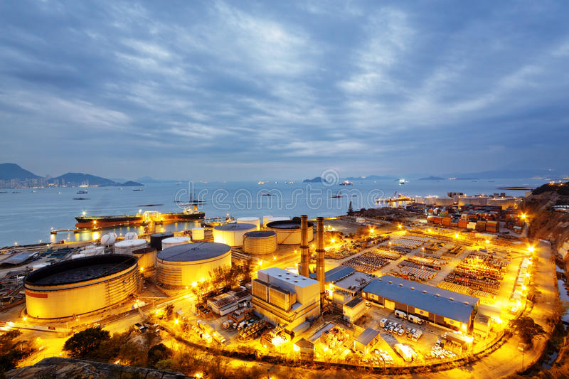 Glow light of petrochemical industry stock photography