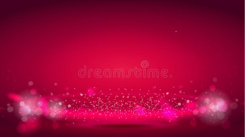 Glow light wave or light aura on red bokeh background. Abstract decorative elements for design uses. Bright radial stock illustration