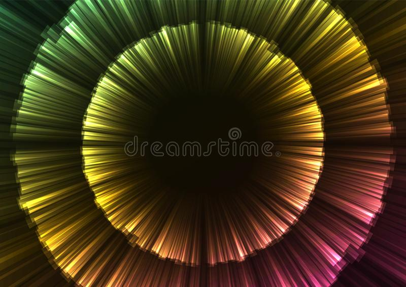 Glow rainbow abstract flower layer in dark background stock illustration