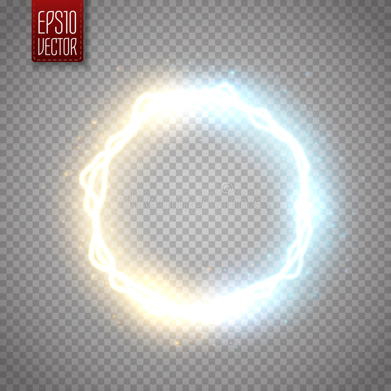 Glow round frame with electric discharge effect isolated. Vector illustration. Glow round frame with electric discharge effect and many shine particles isolated royalty free illustration