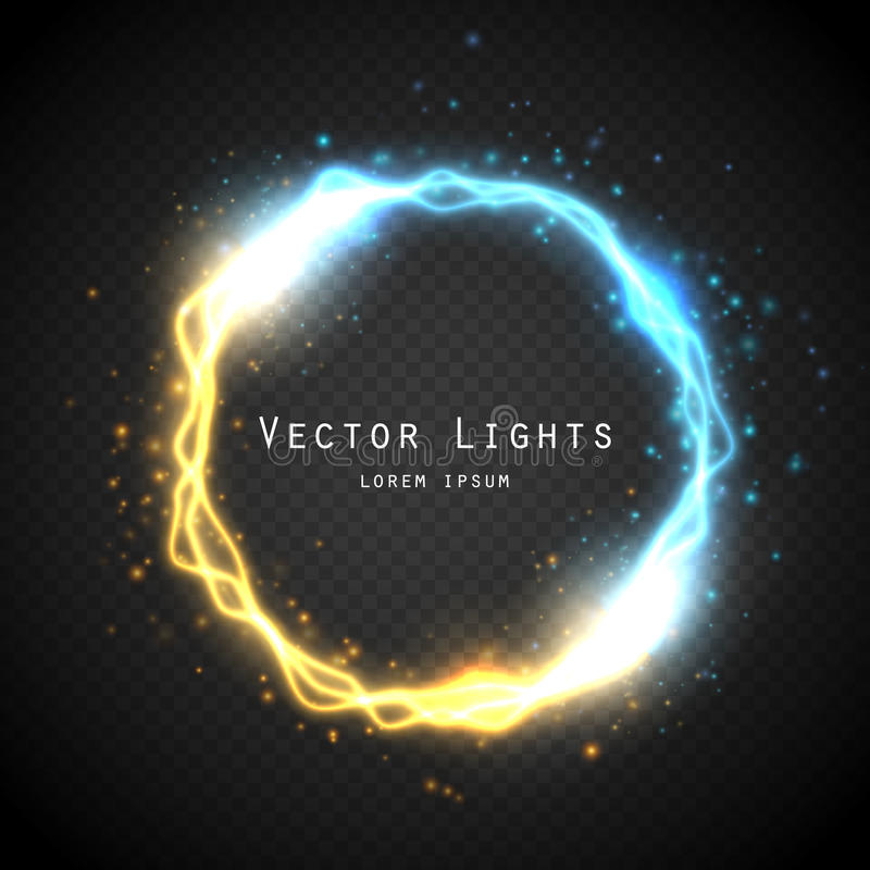Glow round frame with electric discharge effect . Vector illustration. Glow round frame with electric discharge effect and many shine particles on transparent stock illustration
