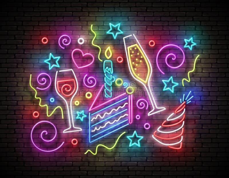 Glow Signboard con torta di torta, Champagne e Confetti illustrazione vettoriale