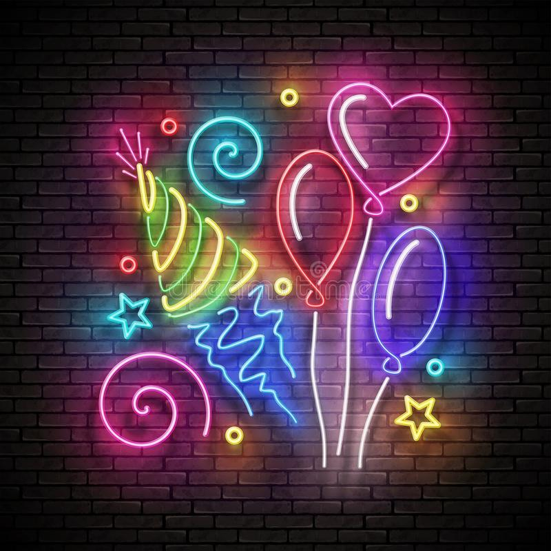 Glow Signboard with Different Balloons, Holiday Hat and Confetti. Happy Birthday Greeting Card. Neon Poster, Banner, Invitation. Seamless Brick Wall. Vector 3d stock illustration