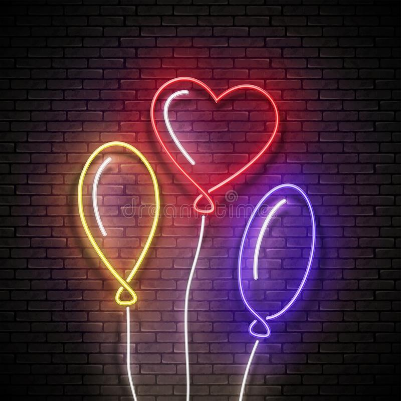 Glow Signboard with Different Form Balloons. Sale Flyer, Happy Birthday Greeting Card. Neon Light Poster, Banner, Invitation. Seamless Brick Wall. Vector 3d vector illustration