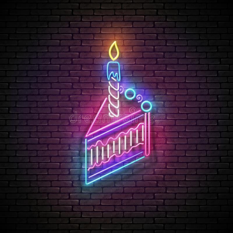 Glow Signboard with Piece of Cake and Candle. Holiday Flyer, Happy Birthday Greeting Card. Neon Light Poster, Banner, Invitation. Seamless Brick Wall. Vector stock illustration
