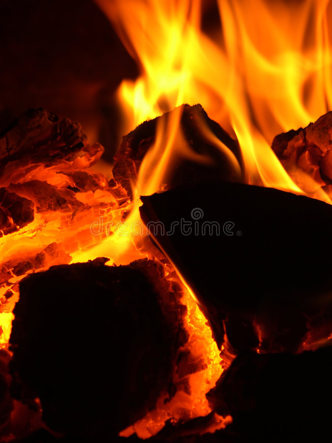 Glow in stove stock images