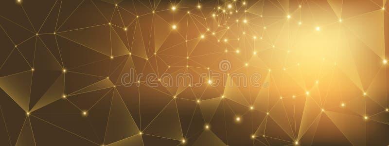 Glow Technology Business. 3d Big Data. Gold Depth. Network. High Triangular Background. Metal Technology Abstract. Data Flow. Light Grid Background. High stock illustration