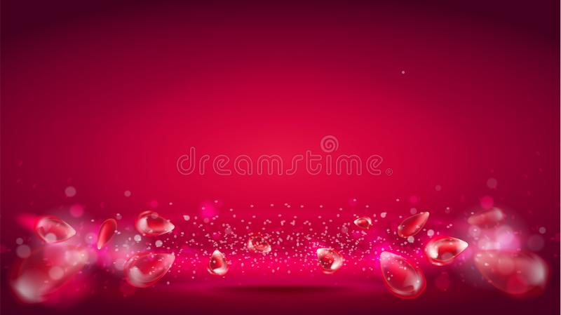 Glow wave or light aura on red bokeh background. Abstract decorative elements for design uses. Bright radial effect with royalty free illustration