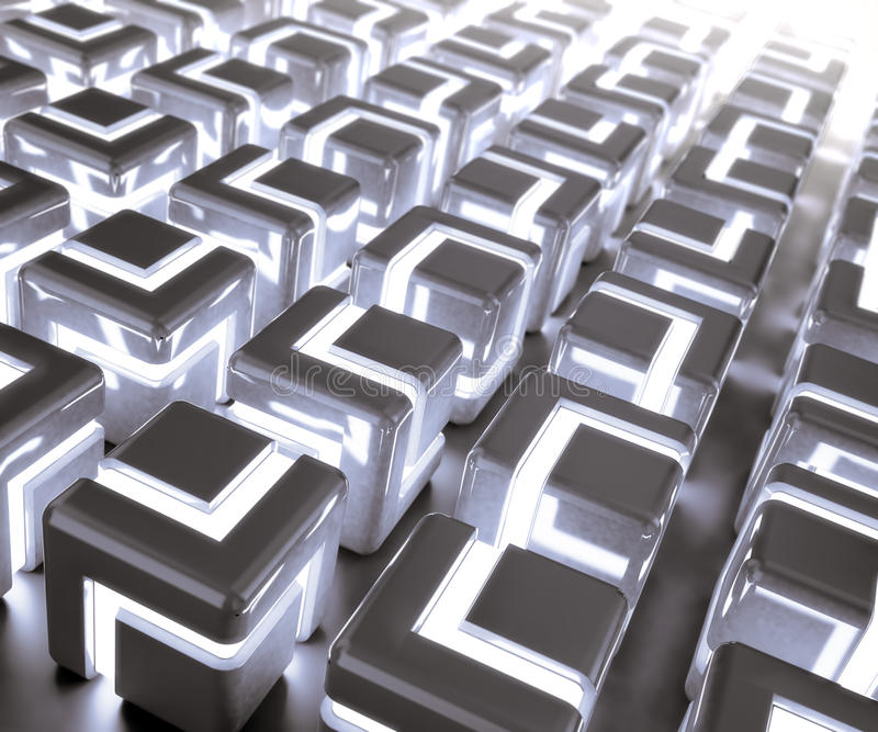 Download Glowing 3d Cubes Background Stock Illustration - Image: 24957619