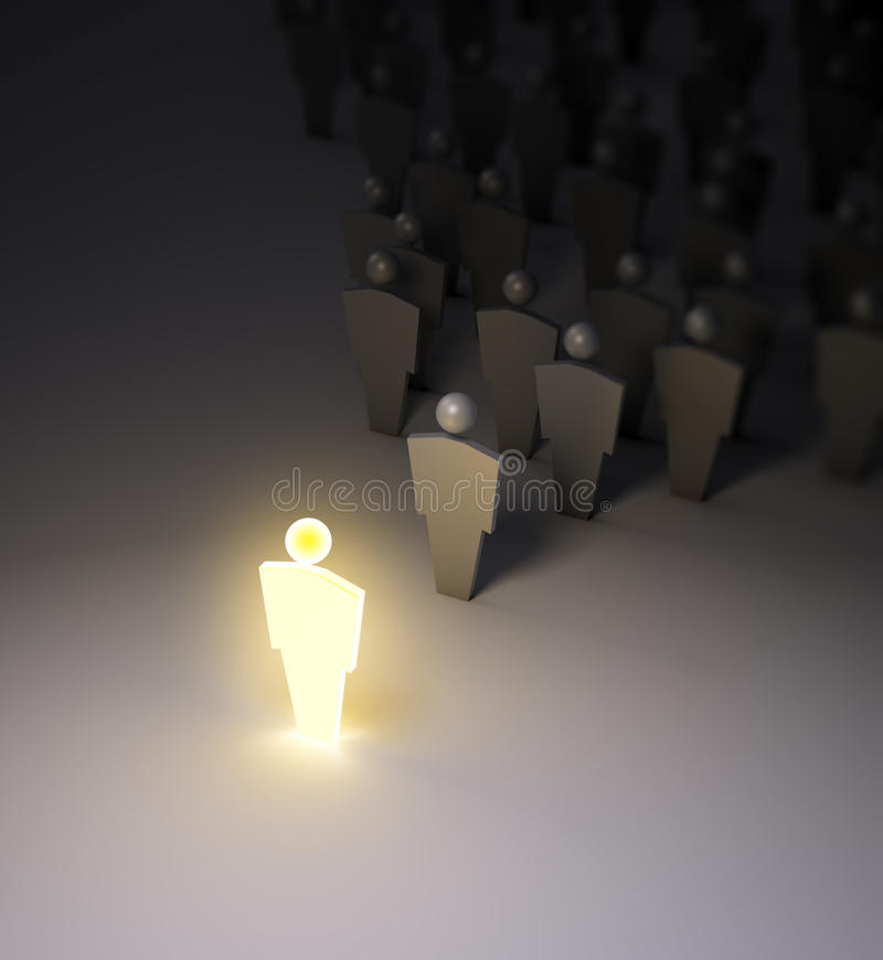 Glowing 3d figure. A glowing 3d figure standing out of the crowd vector illustration