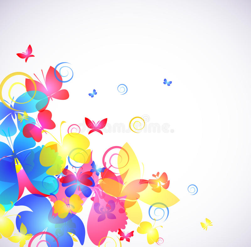 Glowing abstract background with butterfly. Vector illustration royalty free illustration