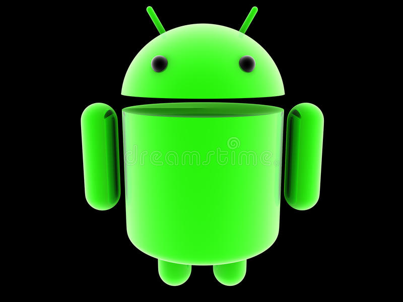 Glowing Android 3D Logo Editorial Photo