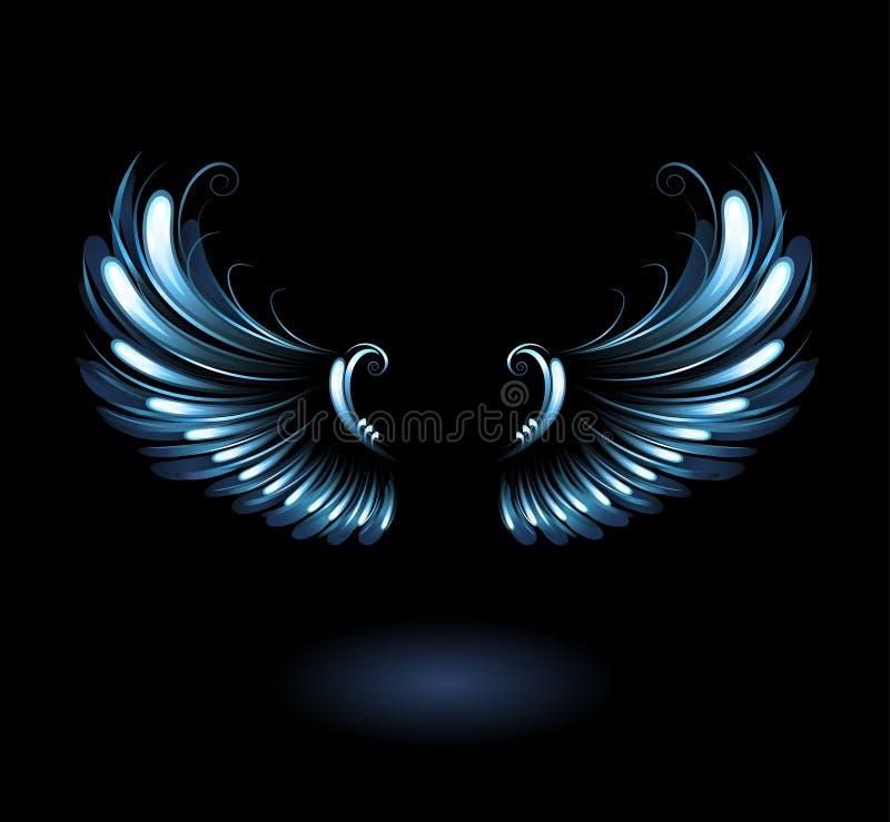 Glowing angel wings. Glowing, stylized angel wings on a black background stock illustration