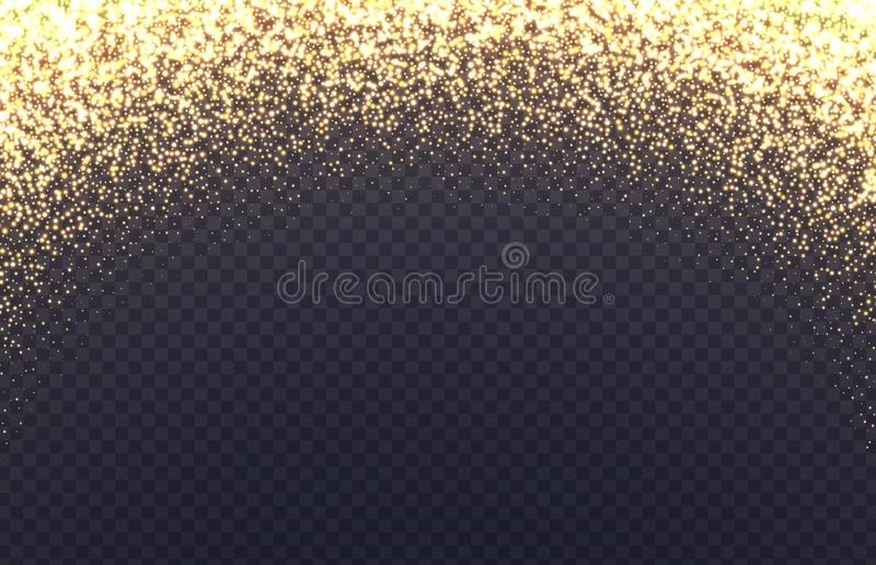 Glowing arch border with sparkles. Fallen golden dust isolated on transparent background. vector illustration