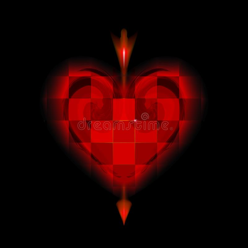 Glowing arrow of Cupid pierced cellular red heart. Icon of Valentines day love. Amur loving on black background. Ardent. Illuminated with glow design stock illustration