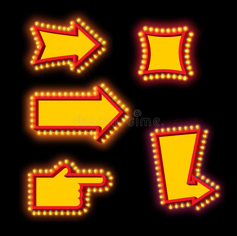 Free Glowing Arrow With Blub Set. Luminous Pointer. Retro Cursor With Stock Photo - 80384500