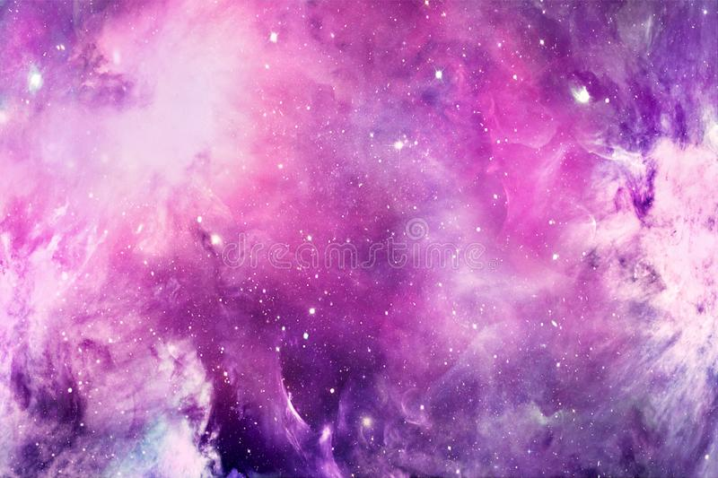 Glowing Artistic Abstract Colorful Cloudy Nebula Galaxy In Deep Space Artwork stock illustration