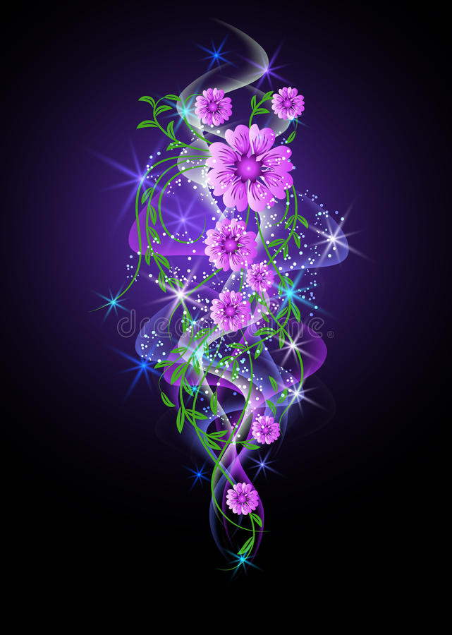 Glowing background with flowers and stars royalty free illustration
