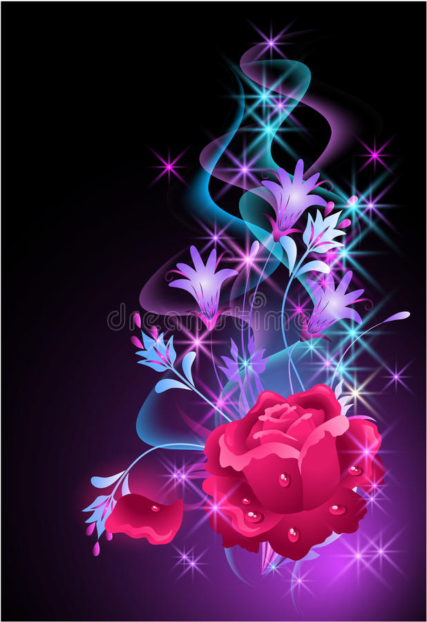 Glowing background with smoke and rose