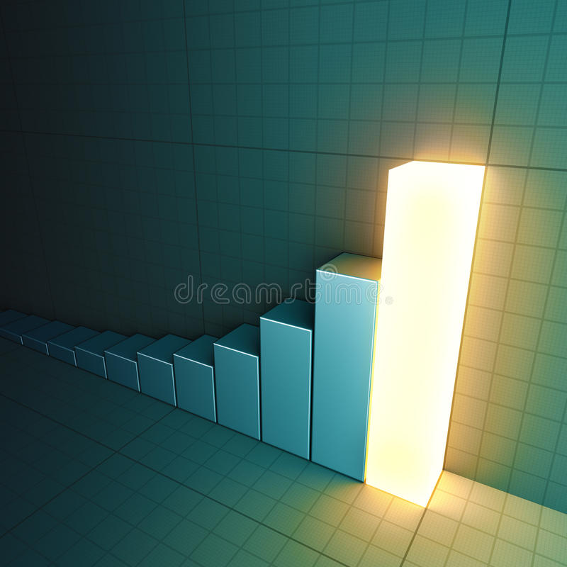 Glowing bar chart. A 3D-rendered bar chart with the top bar glowing stock illustration