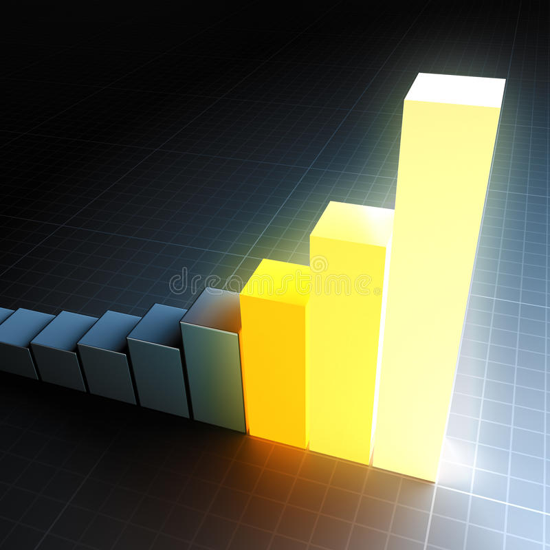 Glowing bar graph. A 3D-rendered bar graph with a glowing top bar stock illustration