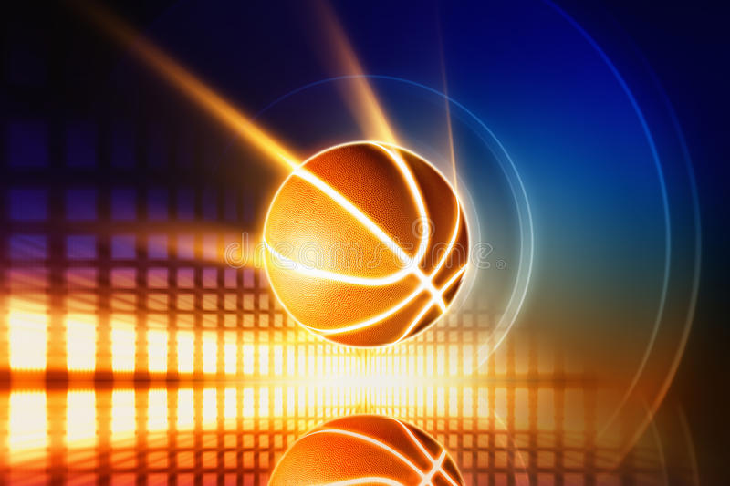 Background Abstract Sport Volleyball Blue Yellow Ball: Glowing Basketball Stock Photo. Image Of Orange, Yellow