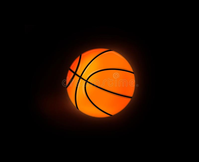 Glowing Basketball ball in the dark black background stock illustration