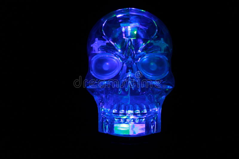Glowing Blue Glass Skull royalty free stock photos
