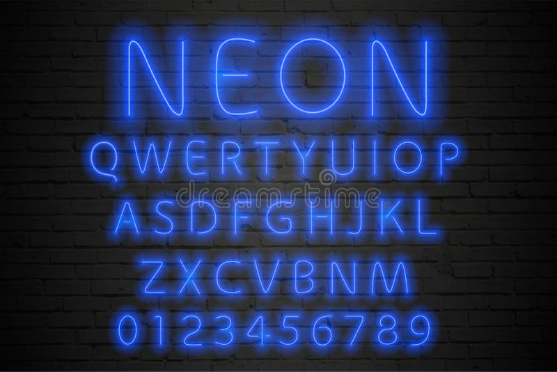 Glowing blue neon alphabet. Neon letters and numbers vector illustration