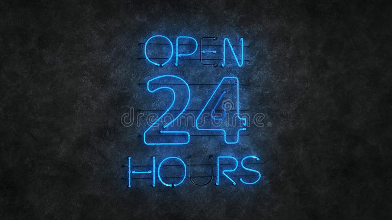 Glowing blue neon light sign open 24 hours 3D rendering stock illustration