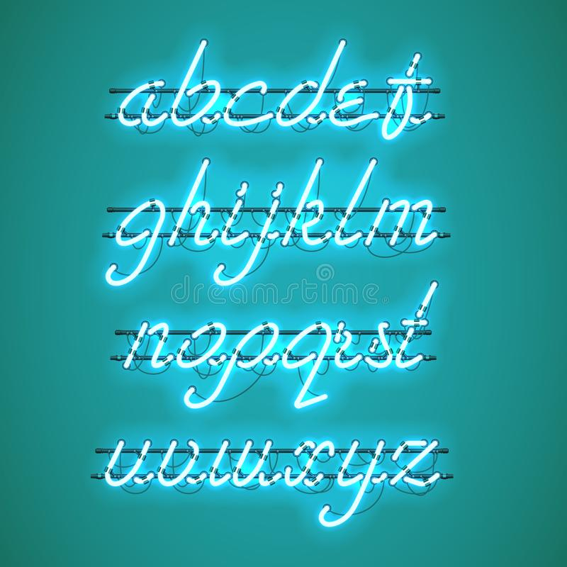 Glowing Blue Neon Lowercase Script Font. Glowing Blue Neon Script Font with lowercase letters from A to Z with wires, tubes, brackets and holders. Shining and vector illustration