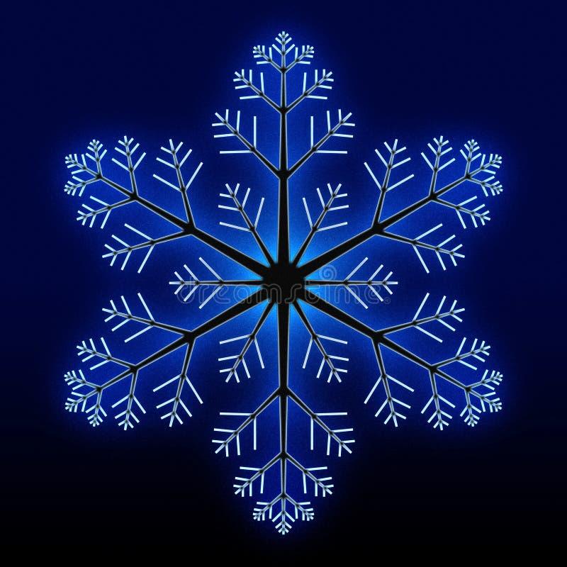 Glowing blue snowflake royalty free stock image