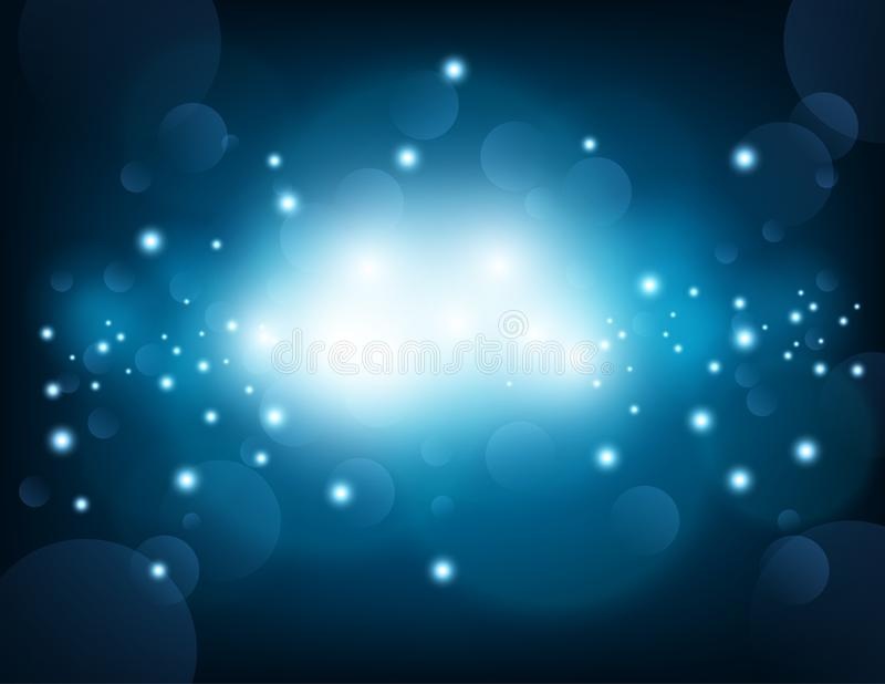 Glowing blue sparkling with lens flare background. Vector illustration of Glowing blue sparkling with lens flare background vector illustration
