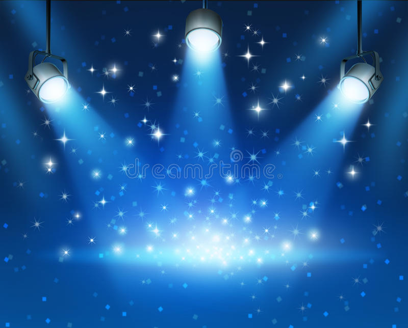 Glowing Blue Spotlights Background. Magical blue abstract image of concert lighting against a dark glowing background Illustration with shiny sparkles with a royalty free illustration