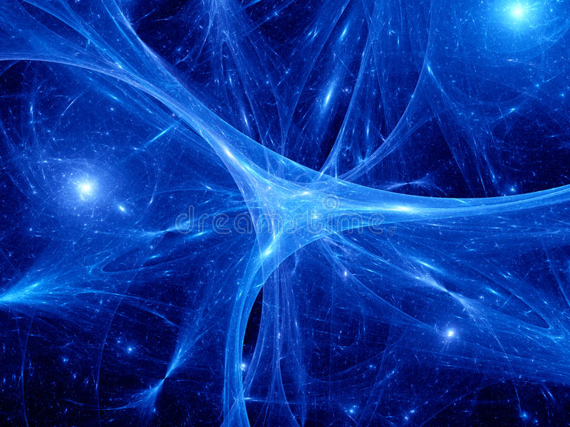 Glowing blue synapses in space stock illustration