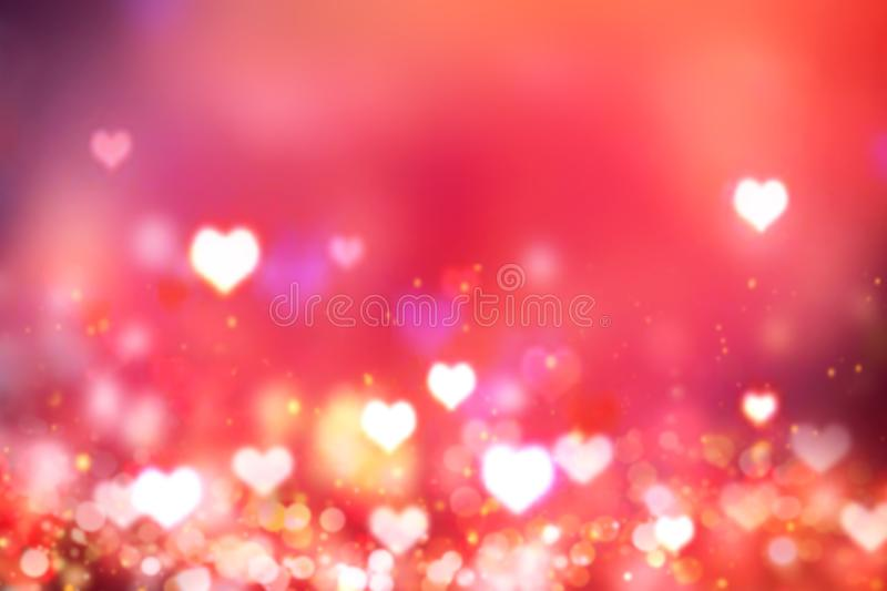 Glowing blurred hearts red background.Valentine`s backdrop. stock illustration