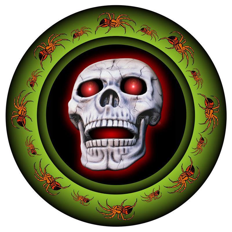 Free Glowing Border With Skull Stock Photography - 4435872