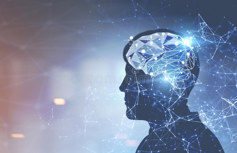 Businessman brain hologram, office. Glowing brain hologram inside a head of a man against a blurred background. Concept of thinking and decision making. Toned stock image