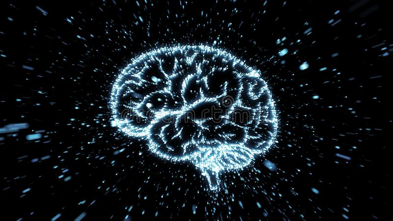 Glowing brain illustration being fromed from particle explosion with motion blur. Glowing particles exploding from image of a brain, with motion blur can be used stock illustration