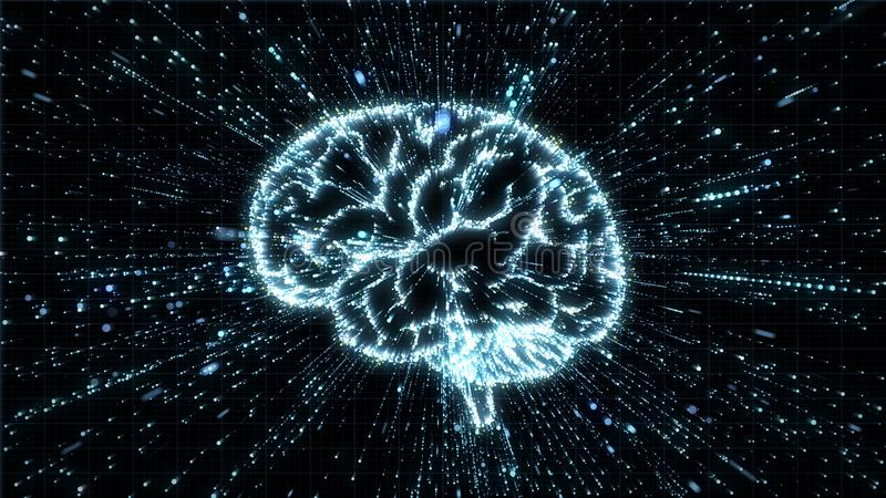 Glowing brain illustration being fromed from particle explosion with motion blur. Glowing particles exploding from image of a brain, with motion blur can be used vector illustration