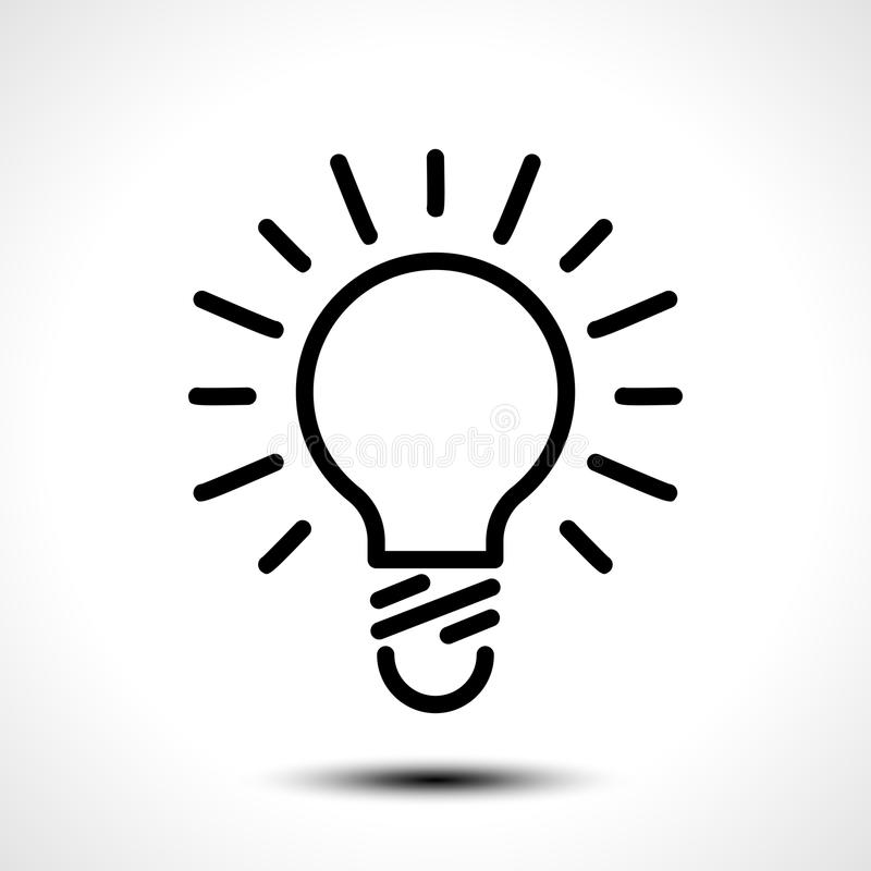 Glowing bulb icon on white background stock illustration