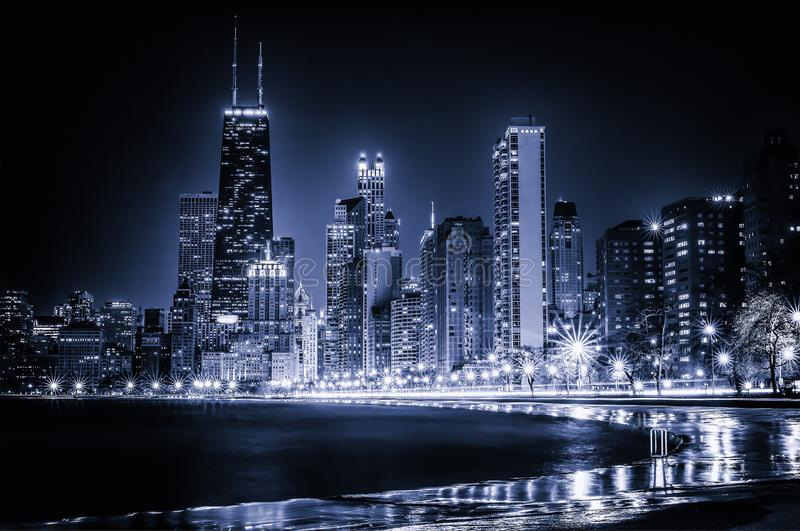 Glowing Chicago Blues Skyline at Night stock photography