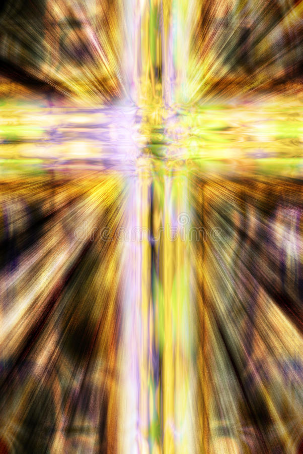 Glowing Christian cross stock photo