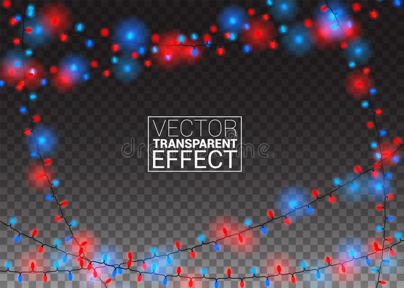 Glowing christmas lights on transparent background. Color garlands Xmas Holiday festive decorations. Vector stock illustration