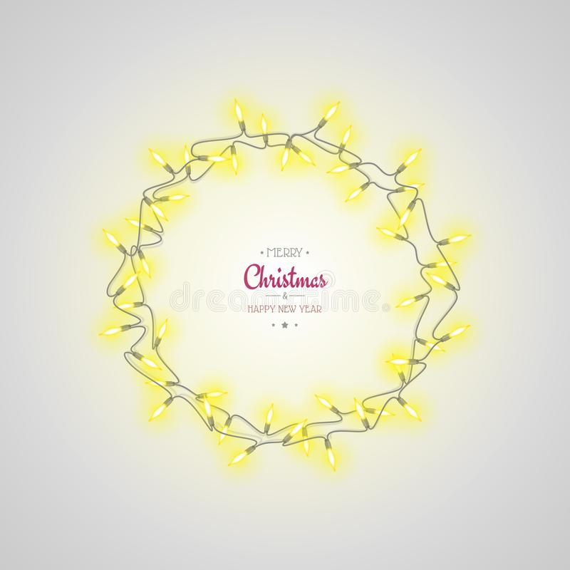 Glowing Christmas lights wreath on light grey background. New Year holiday greeting card. Christmas decoration and Christmas Eve royalty free stock photos