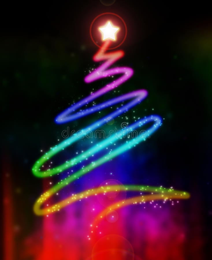 Glowing Christmas Tree Stock Images