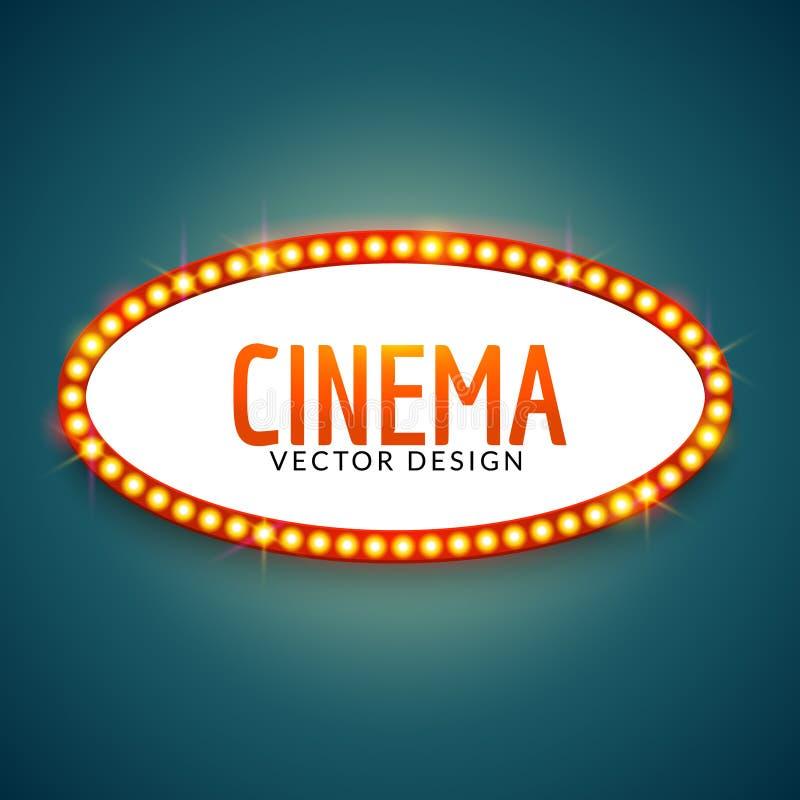 Glowing cinema signboard banner. Vintage vector light retro sign frame for theater banner signboard vector illustration
