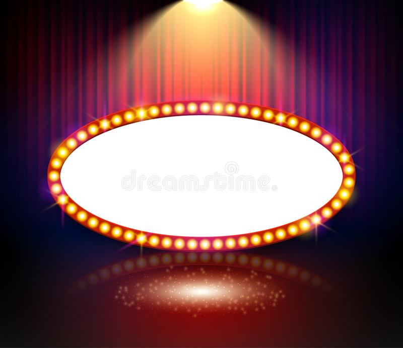 Glowing cinema signboard banner. Vintage vector light retro sign frame for theater on curtains royalty free illustration