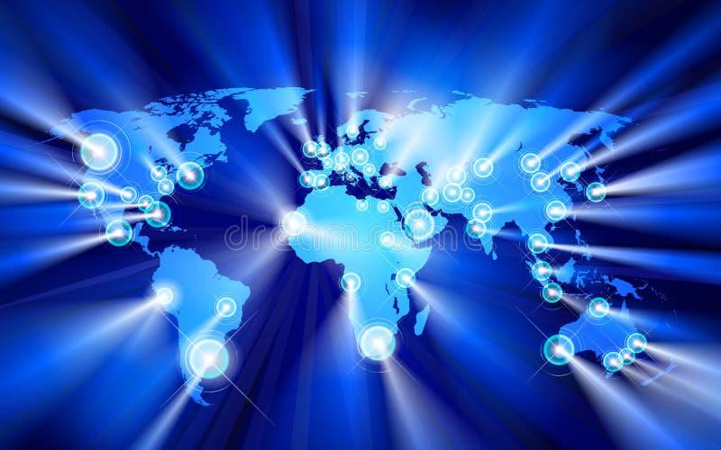 Glowing Cities Around World royalty free illustration