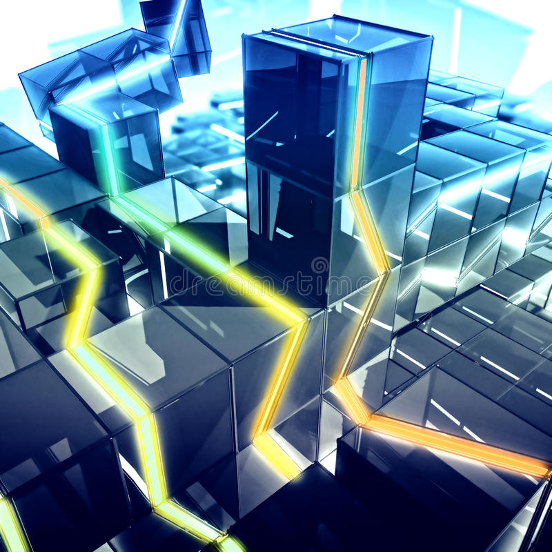 Download Glowing city stock illustration. Image of building, data - 26406019